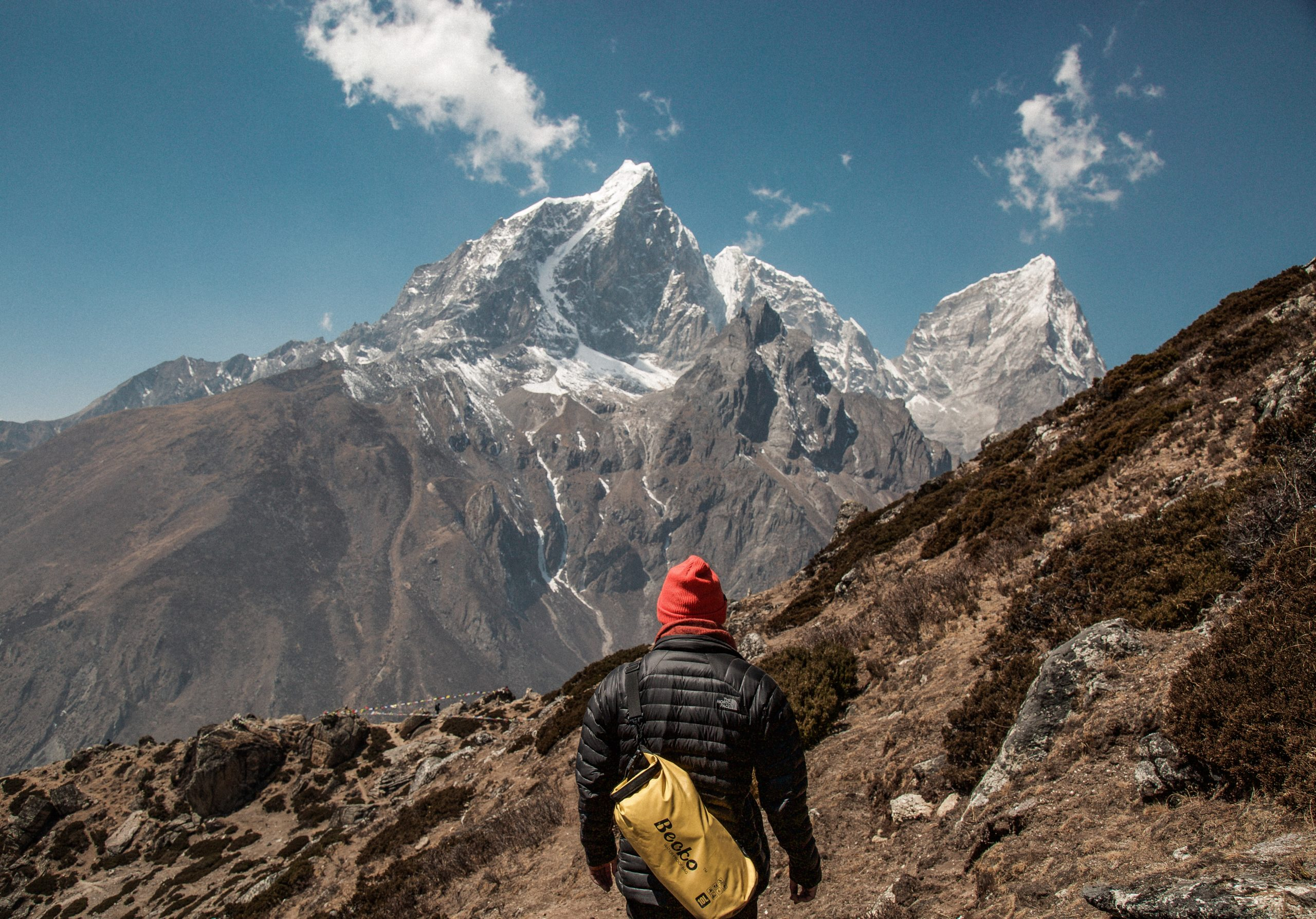 person standing in front of mountain